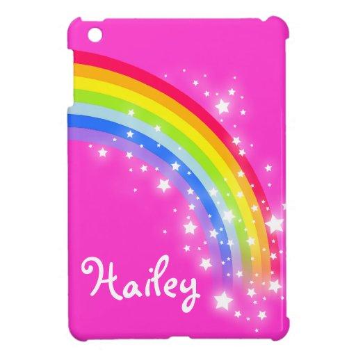 Kids named rainbow bright pink ipad mini cover