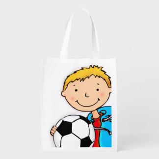 Kids named Soccer boy blonde library book bag