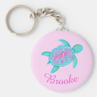 Kids named turtle whimsical art keychain
