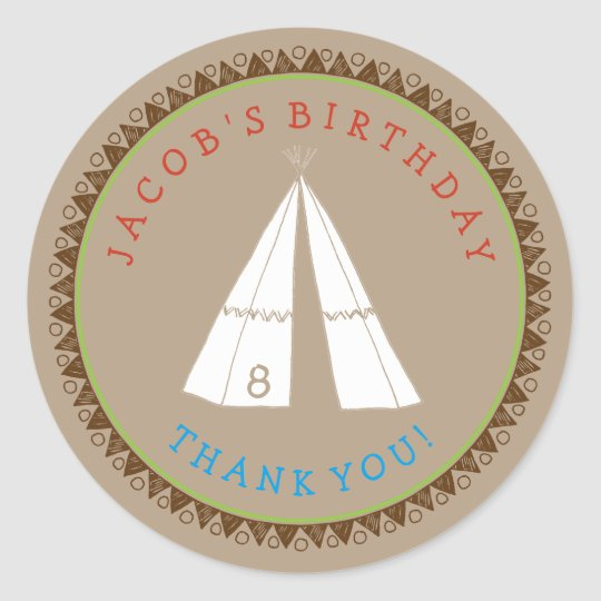 Kid's Native American Tipi Birthday Stickers