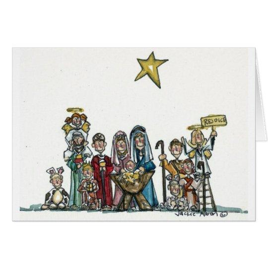 kids nativity scene card