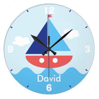 Kids Nautical Sail Boat Wall Clock