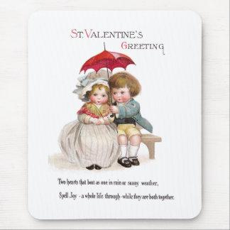Kids 'Neath Umbrella Vintage Valentine Mouse Pad