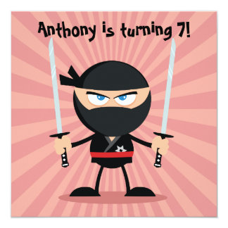 Kids Ninja Theme Party Invite