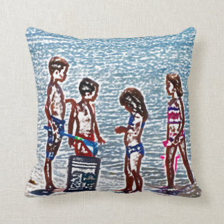 kids on beach sketch playing in sand throw pillow