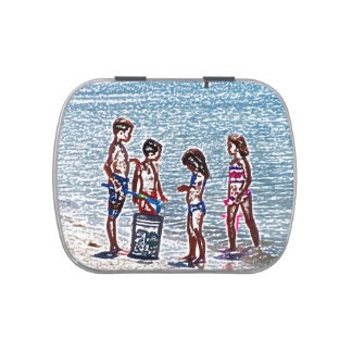 kids on beach sketch playing in sand jelly belly candy tins