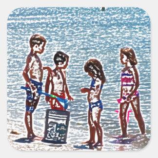 kids on beach sketch playing in sand sticker