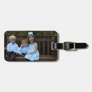 Kids on Bench Luggage Tag w/ leather strap