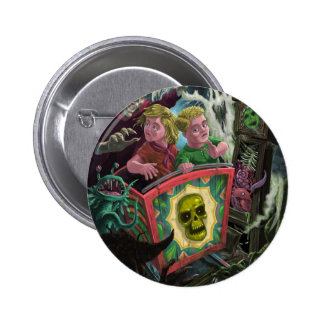 Kids on Creepy Ghost Train fun fair ride 6 Cm Round Badge