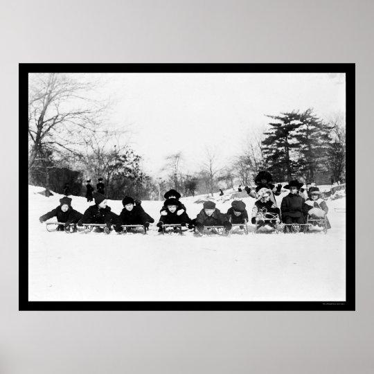 Kids on Sleds in Central Park 1915 Poster