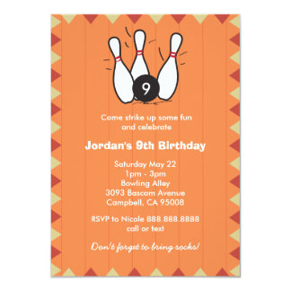 Kid's or Adults Bowling Birthday Party Card