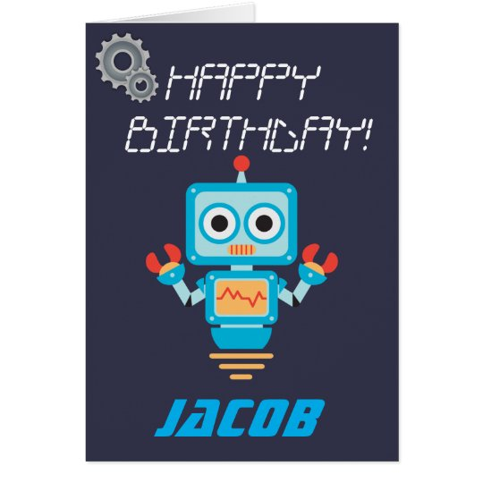 Kids or Boys Personalised Robot Birthday Card