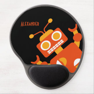 Kids Orange Black Robot Personalized Cool Modern Gel Mouse Mat