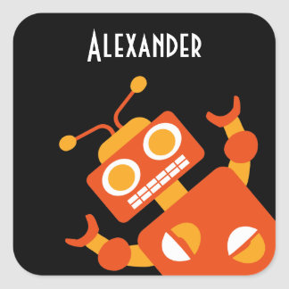 Kids Orange Black Robot Personalized Cool Modern Square Sticker