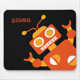 Kids Orange Robot Personalized Cool Modern Boys Mouse Mat