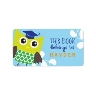 Kids Owl Bookplates Address Label