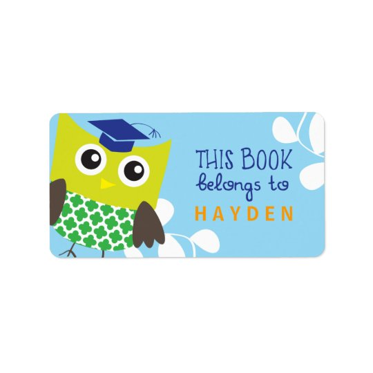Kids Owl Bookplates Label