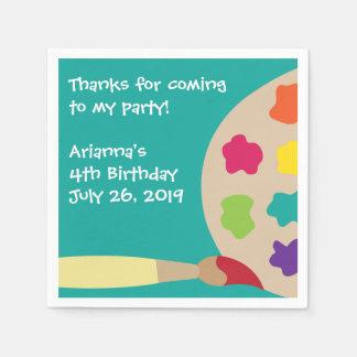Kids Paint Party Personalized Napkins Disposable Napkin
