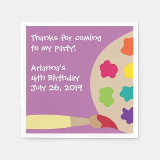 Kids Paint Party Personalized Napkins Disposable Napkins
