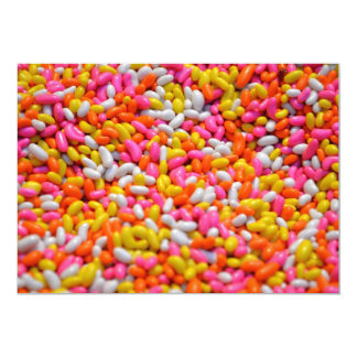 Kids party candy rainbow jelly beans confectionery 5x7 paper invitation card