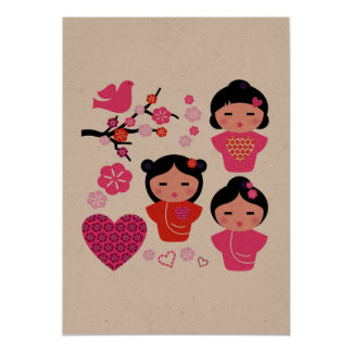 Kids party greeting with Geishas Card