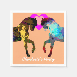 Kids Party Napkins Horses Personalized Disposable Napkin