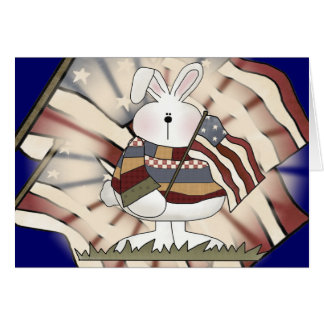 Kids Patriotic Bunny T Shirts and Gifts Greeting Card