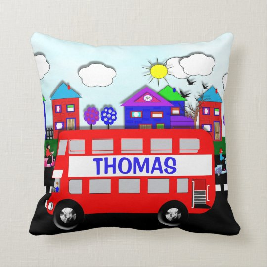 Kids Personalised Big Red Bus Cushion