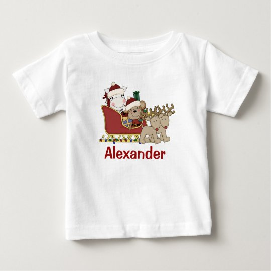 Kids Personalised Christmas Santa Sleigh Baby T-Shirt