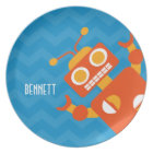 Kids Personalised Crazy Orange Robot Blue Chevron Plate