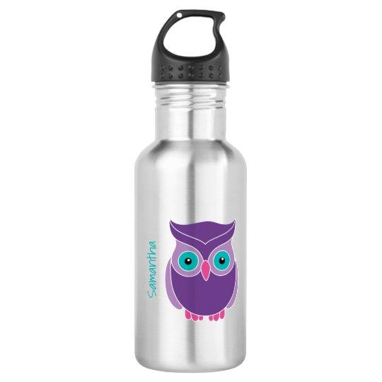 Kids Personalised Purple Teal Cute Owl 532 Ml