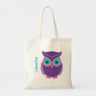 Kids Personalised Purple Teal Cute Owl Tote Bag