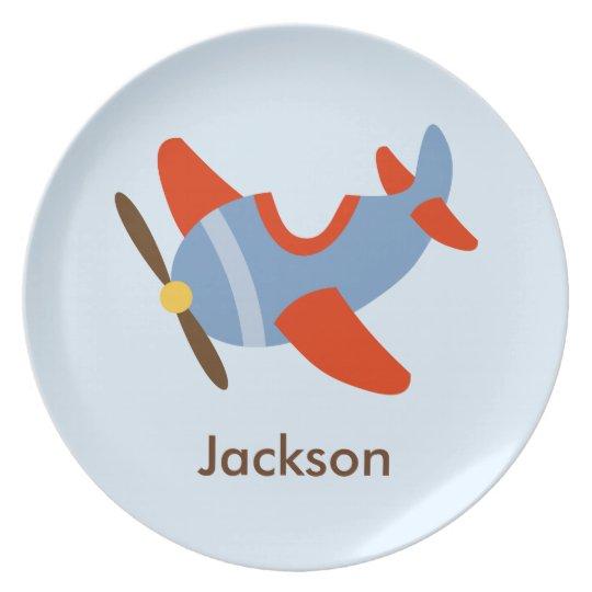 Kids Personalised Red Blue Aeroplane Plate