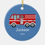 Kids Personalised Red Fire Truck Christmas Round Ceramic Decoration