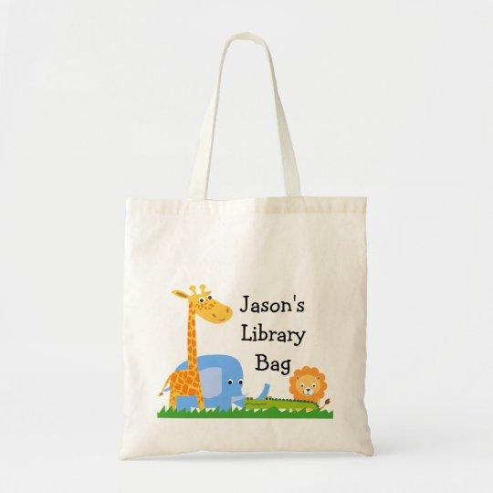 Kids Personalised Safari Animals Tote Bag