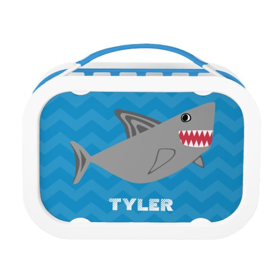 Kids Personalised Shark Blue Chevron Lunch Box Boy