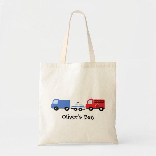 Kids Personalised Transport Vehicles Tote Bag