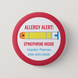 Kids Personalized Allergy Alert Epinephrine Inside 6 Cm Round Badge