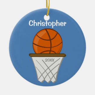 Kids Personalized Basketball Blue Ornament