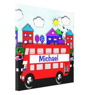 Kids Personalized Big Red Bus Stretched Canvas Print