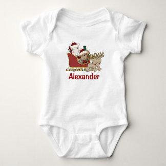 Kids Personalized Christmas Santa Sleigh Tshirt
