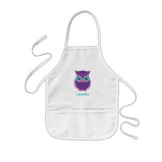 Kids Personalized Cute Purple Owl Bird Animal Kids Apron