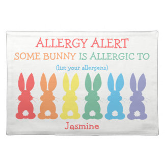 Kids Personalized Food Allergy Custom Bunny Placemat
