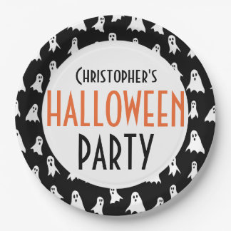Kids Personalized Ghost Pattern Halloween Party 9 Inch Paper Plate