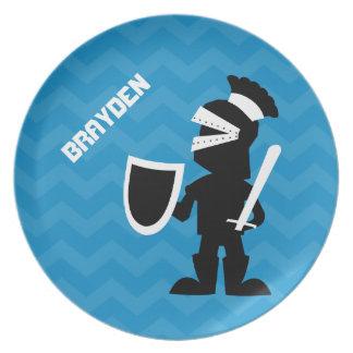 Kids Personalized Knight Blue Chevron Plate
