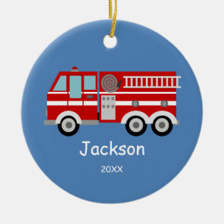 Kids Personalized Red Fire Truck Christmas Round Ceramic Decoration