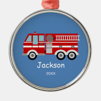 Kids Personalized Red Fire Truck Christmas Silver-Colored Round Decoration