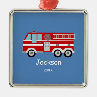 Kids Personalized Red Fire Truck Christmas Silver-Colored Square Decoration