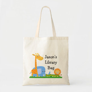Kids Personalized Safari Animals Tote Bag