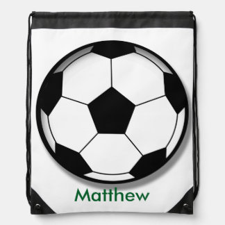 Kids Personalized Soccer Ball Drawstring Backpack